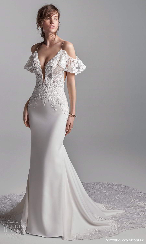 sottero midgley fall 2020 bridal sleeveless spaghetti straps plunging v neckline embellished bodice sheath wedding dress chapel train detached flutter straps (9) mv