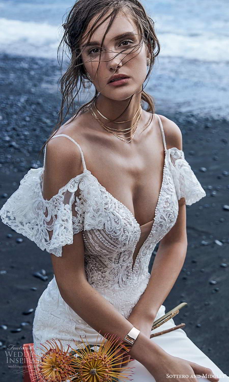 sottero midgley fall 2020 bridal sleeveless spaghetti straps plunging v neckline embellished bodice sheath wedding dress chapel train detached flutter straps (9) zv