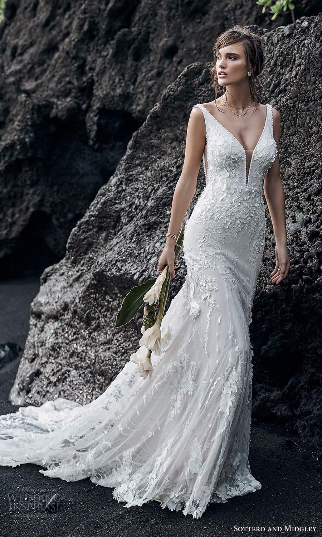 sottero midgley fall 2020 bridal sleeveless straps plunging neckline fully embellished lace sheath wedding dress chapel train (2) mv