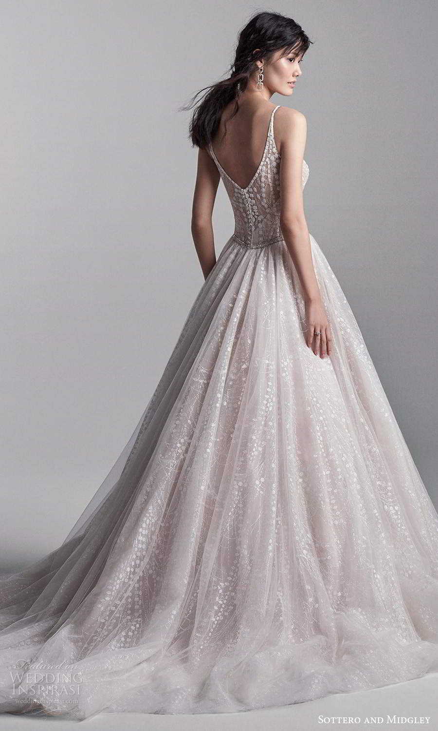 sottero midgley fall 2020 bridal sleeveless straps plunging v neckline embellished bodice a line ball gown wedding dress blush chapel train (4) bv