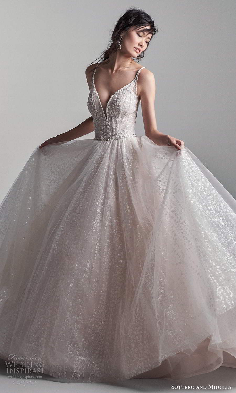 sottero midgley fall 2020 bridal sleeveless straps plunging v neckline embellished bodice a line ball gown wedding dress blush chapel train (4) mv