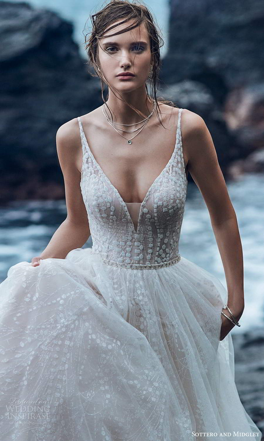 sottero midgley fall 2020 bridal sleeveless straps plunging v neckline embellished bodice a line ball gown wedding dress blush chapel train (4) zv