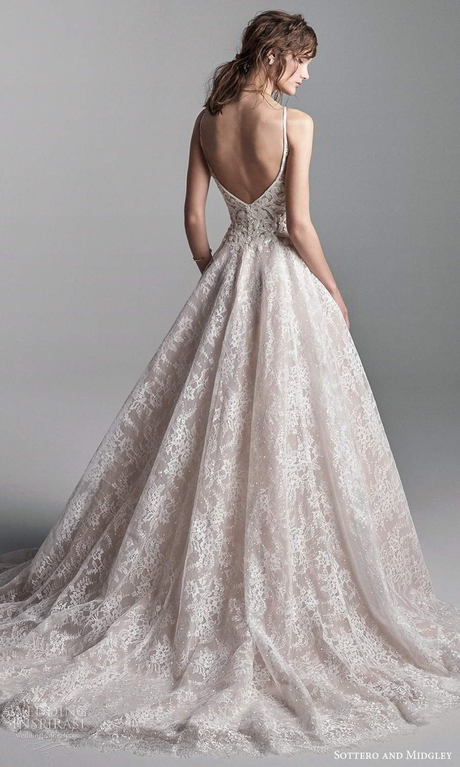 sottero midgley fall 2020 bridal sleeveless straps plunging v neckline fully embellished lace a line ball gown wedding dress chapel train blush (8) bv