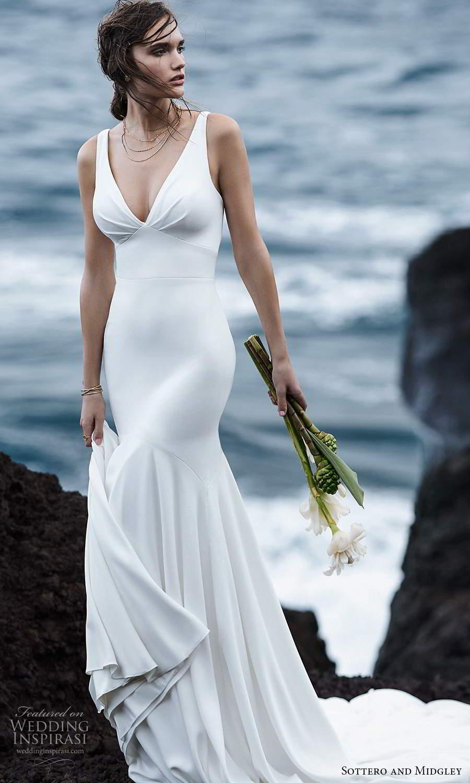 sottero midgley fall 2020 bridal sleeveless straps v neckline clean minimalist mermaid wedding dress chapel train (10) mv