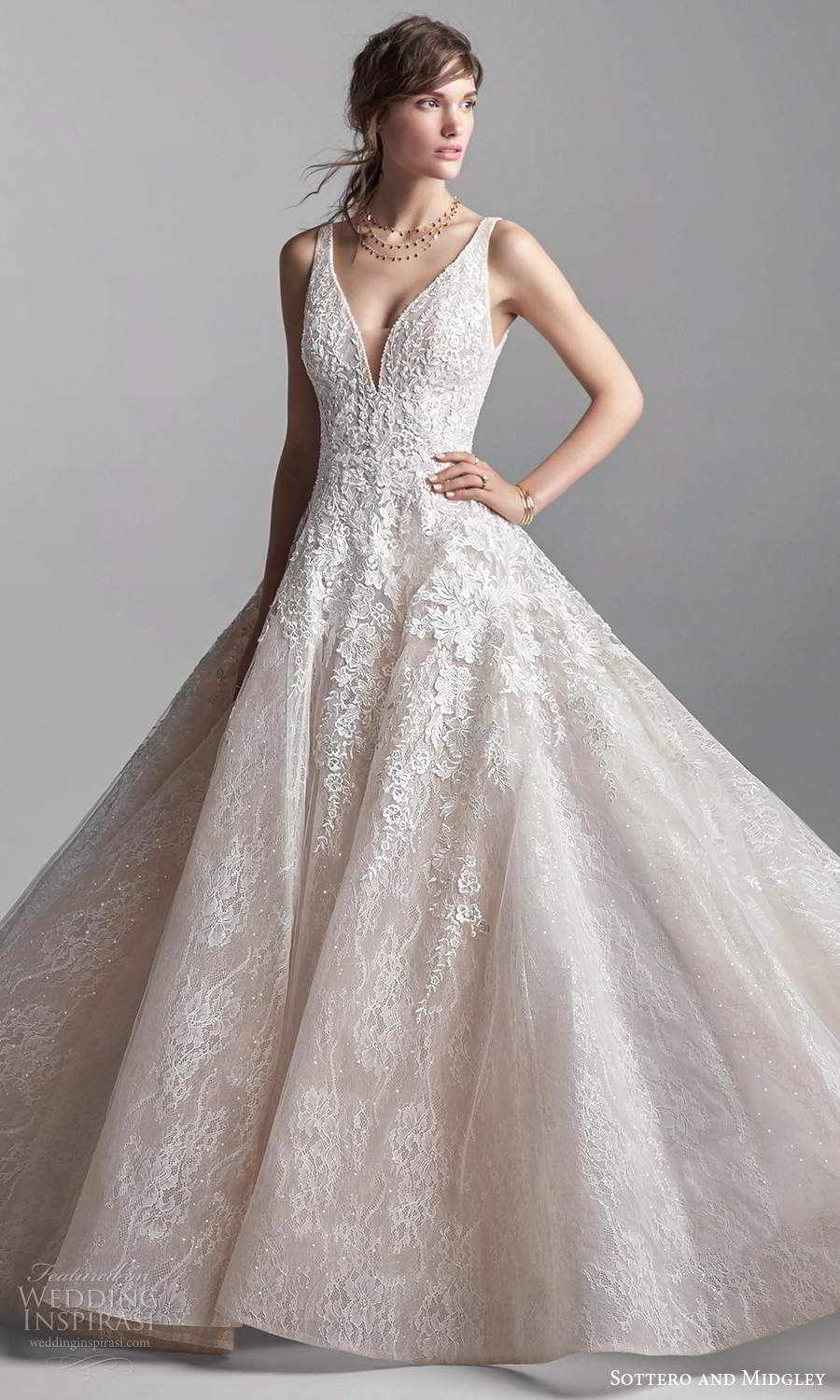 sottero midgley fall 2020 bridal sleeveless thick straps plunging v neckline fully embellished fit flare a line ball gown wedding dress blush chapel train (6) mv
