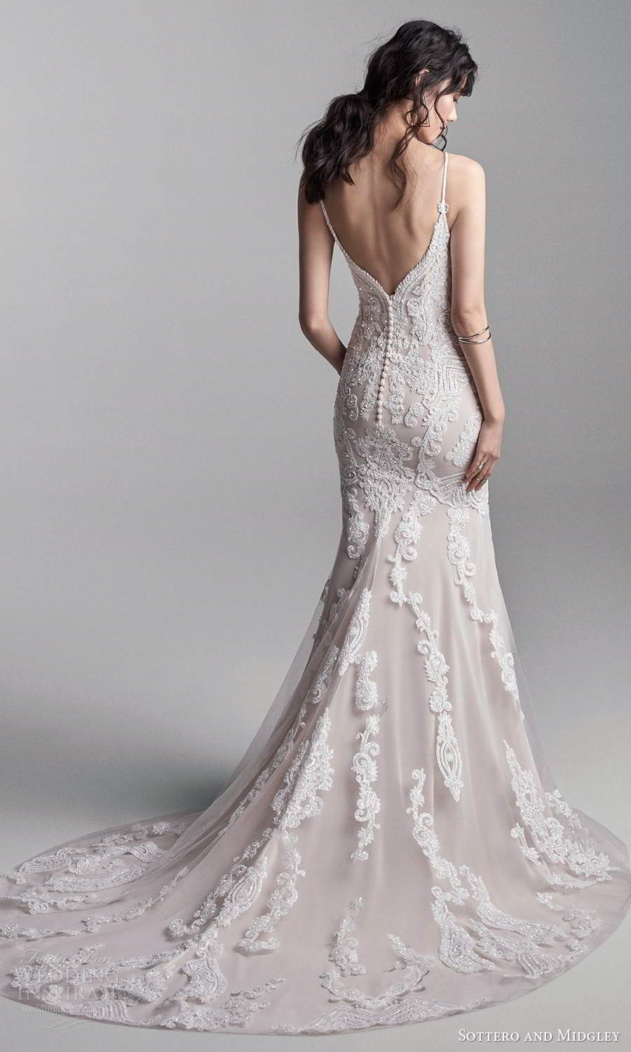 sottero midgley fall 2020 bridal sleeveless thin straps plunging sweetheart neckline fully embellished fit flare mermaid wedding dress chapel train (13) bv