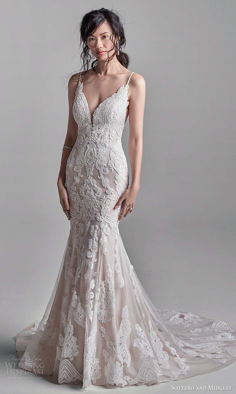 sottero midgley fall 2020 bridal sleeveless thin straps plunging sweetheart neckline fully embellished fit flare mermaid wedding dress chapel train (13) mv