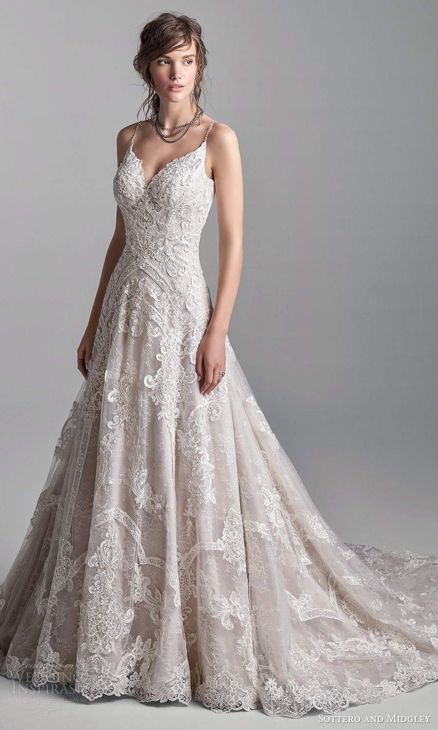 sottero midgley fall 2020 bridal sleeveless thing straps plunging sweetheart neckline fully embellished a line ball gown wedding dress chapel train blush (14) mv