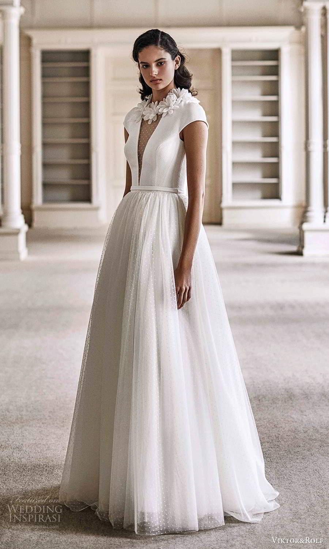 viktor rolf spring 2021 bridal cap sleeves plunging v neckline minimalist a line ball gown wedding dress sweep train (3) mv