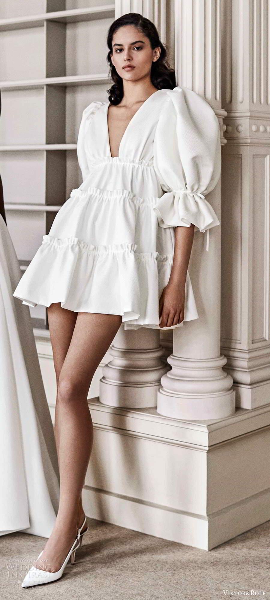 viktor rolf spring 2021 bridal elbow length puff sleeves v neckline short mini wedding dress (23) mv