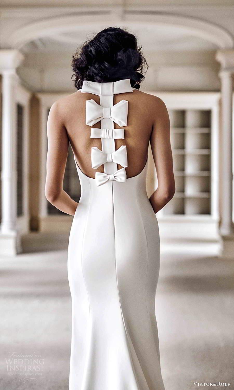 viktor rolf spring 2021 bridal halter neckline sheath  fit flare wedding dress bow back (5) bv