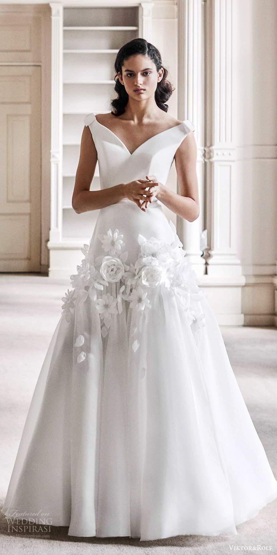 viktor rolf spring 2021 bridal off shoulder straps v neckline clean bodice embellished skirt a line wedding dress (9) mv
