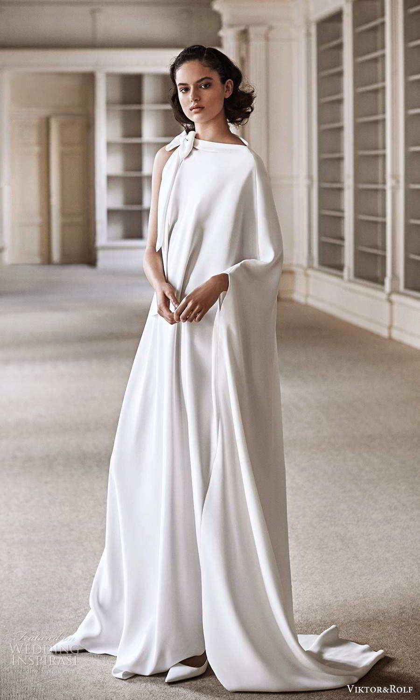 viktor rolf spring 2021 bridal one shoulder bateaud neckline long sleeve kaftan wedding dress (22) mv