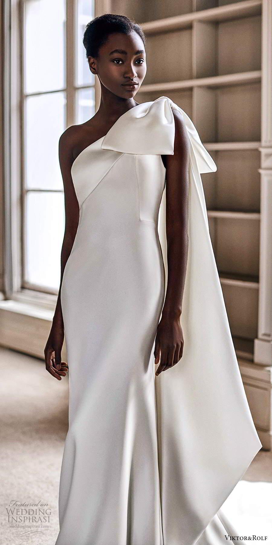 viktor rolf spring 2021 bridal one shoulder bw straps clean minimalist sheath wedding dress (4) mv