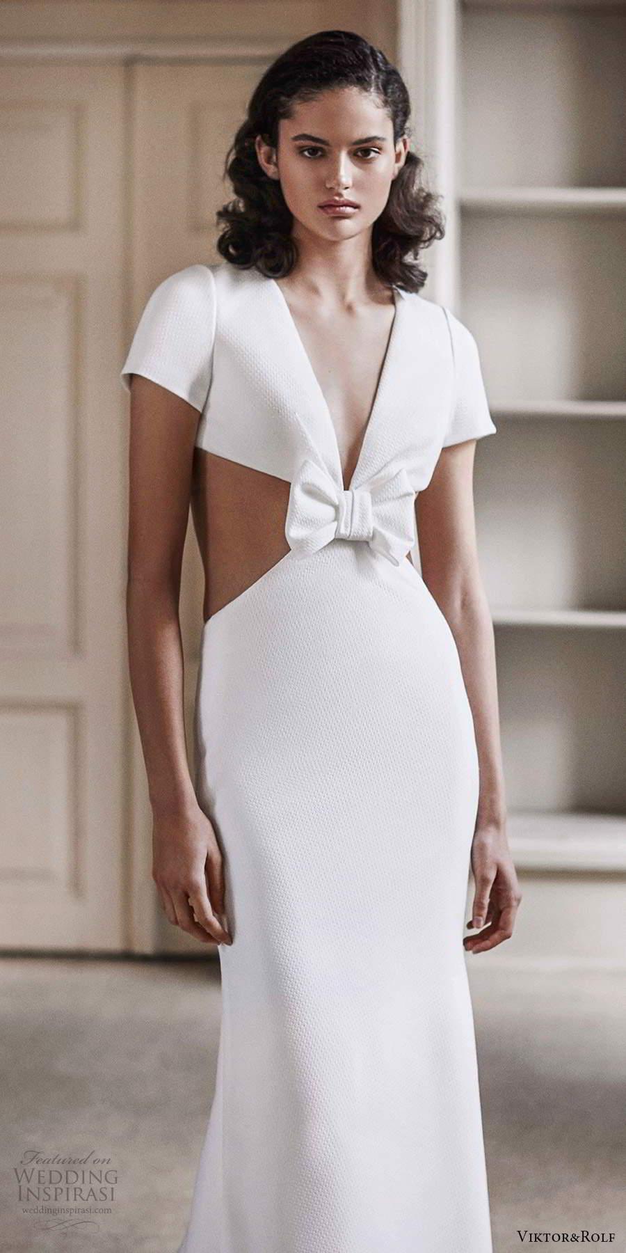 viktor rolf spring 2021 bridal short sleeves plunging vneckline side cutout sheath mermaid jacquard wedding dress (7) mv