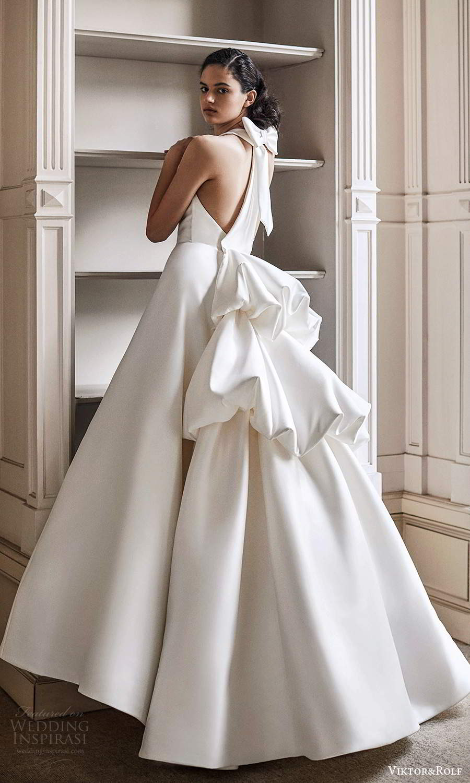 viktor rolf spring 2021 bridal sleeveless halter neckline clean minimalist a line ball gown wedding dress tiered bustle back (17) bv