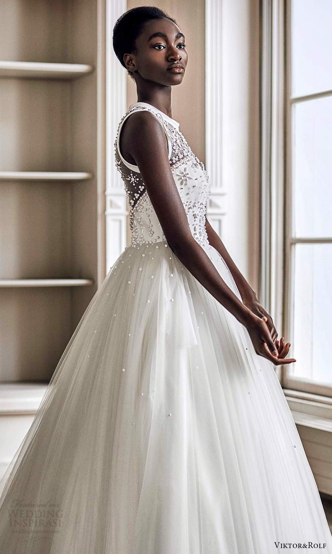 viktor rolf spring 2021 bridal sleeveless jewel neckline embellished bodice a line ball gown wedding dress (18) mv