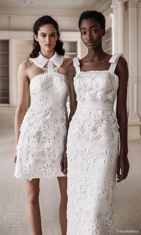 viktor rolf spring 2021 bridal sleeveless straight across broderie anglaise short column wedding dresses (8) mv