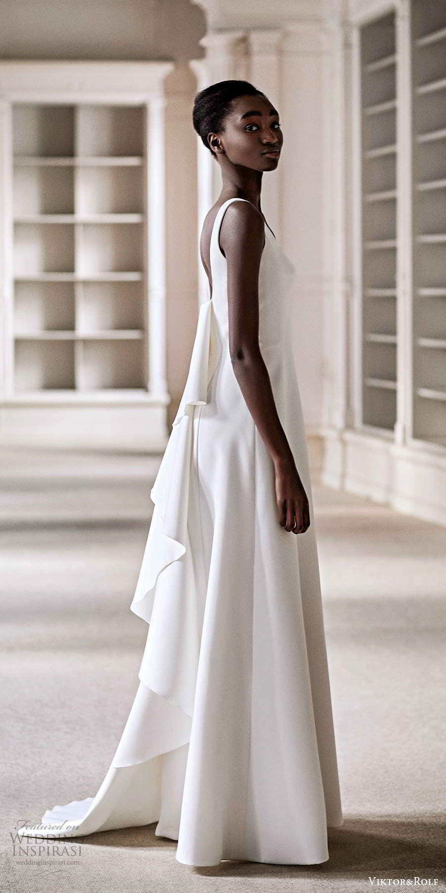 viktor rolf spring 2021 bridal sleeveless straps clean minimalist a line wedding dress watteau train (11) mv