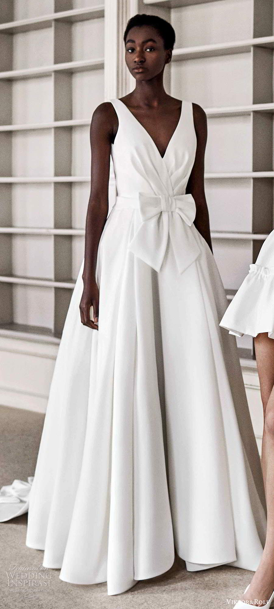 viktor rolf spring 2021 bridal sleeveless straps v neckline ruched bodice a line ball gown wedding dress chapel train (12) lv