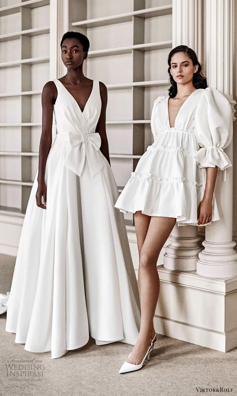 viktor rolf spring 2021 bridal sleeveless straps v neckline ruched bodice a line ball gown wedding dress chapel train (12) mv