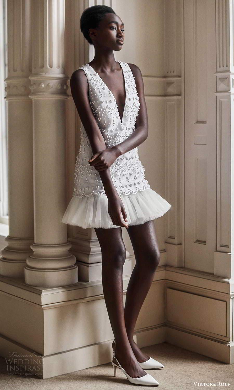 viktor rolf spring 2021 bridal sleeveless thick straps plunging v neckline embellished short wedding dress (14) mv