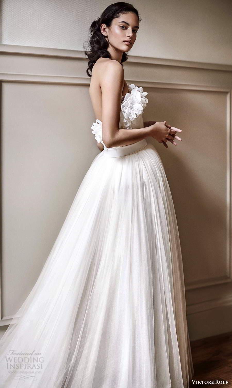 viktor rolf spring 2021 bridal strapless embellished neckline a line ball gown wedding dress (21) mv