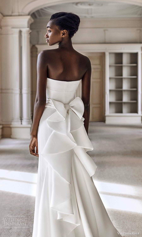 viktor rolf spring 2021 bridal strapless minimalist column wedding dress bow back chapel train (6) bv