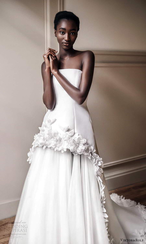 viktor rolf spring 2021 bridal strapless straight across neckline embellished skirt a line ball gown wedding drses (20) mv