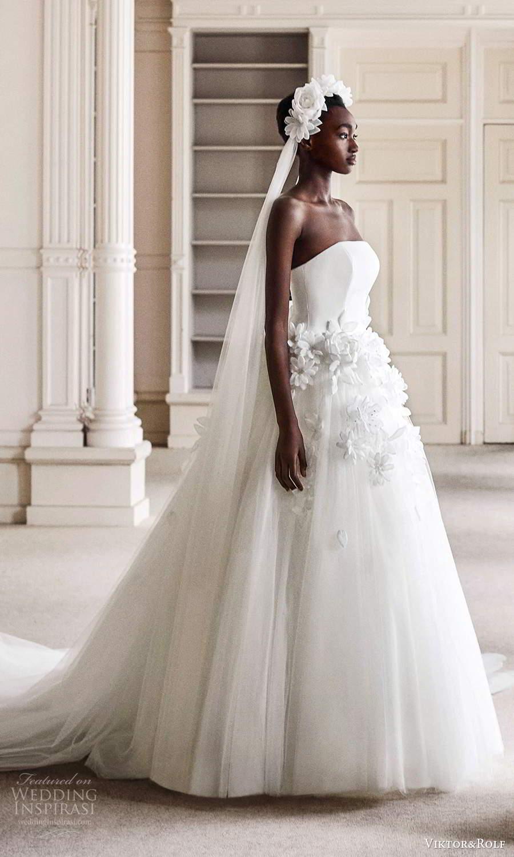 viktor rolf spring 2021 bridal strapless straight across neckline embellished waist ball gown wedding dress chapel train (10) mv