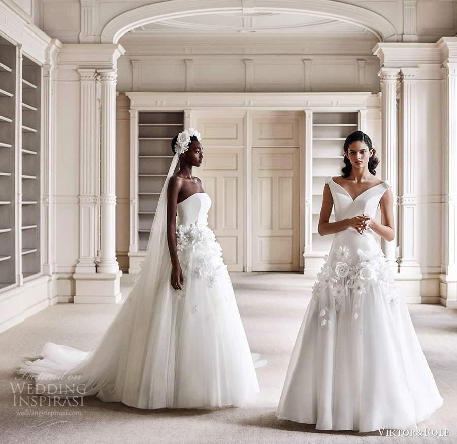 viktor rolf spring 2021 bridal strapless straight across neckline embellished waist ball gown wedding dress chapel train (10) sv