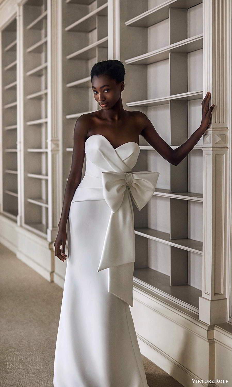 viktor rolf spring 2021 bridal strapless sweetheart neckline bow waist fit flare mermaid wedding dress (16) mv