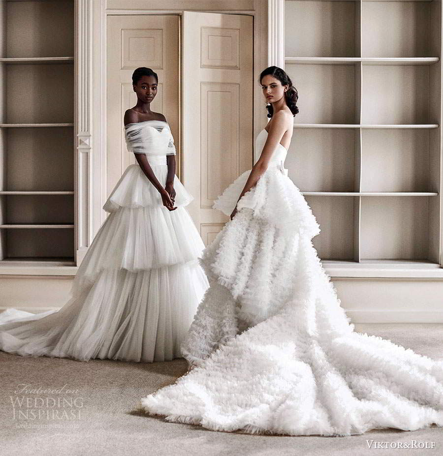 viktor rolf spring 2021 bridal strapless sweetheart ruffle tiered skirt ball gown wedding dress (1) fv
