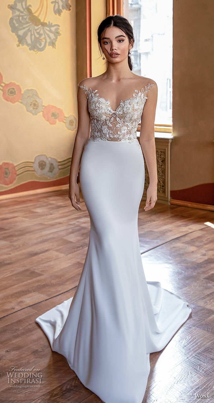 wona concept 2021 romance bridal cap sleeves v neck heavily embellished bodice elegant fit and flare wedding dress v back medium train (13) mv