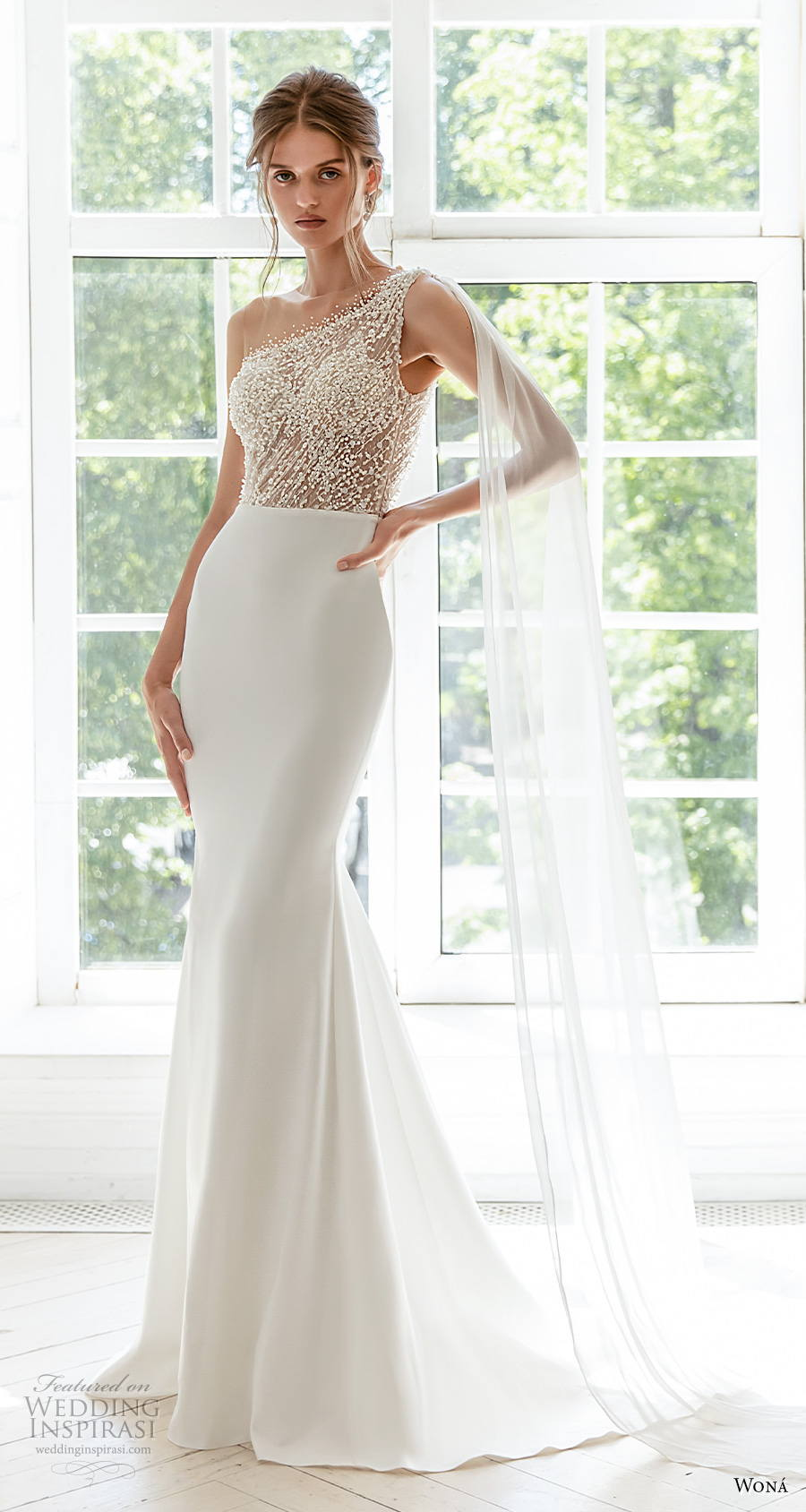 wona concept 2021 romance bridal illusion one shoulder heavily embellished bodice elegant fit and flare wedding dress medium train (14) mv