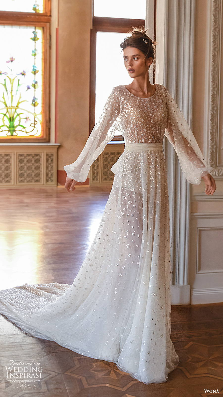wona concept 2021 romance bridal long bishop sleeves jewel neck full embellishment romantic soft a  line wedding dress v back chapel train (5) mv