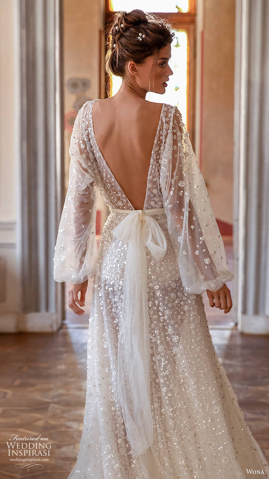 wona concept 2021 romance bridal long bishop sleeves jewel neck full embellishment romantic soft a  line wedding dress v back chapel train (5) zbv
