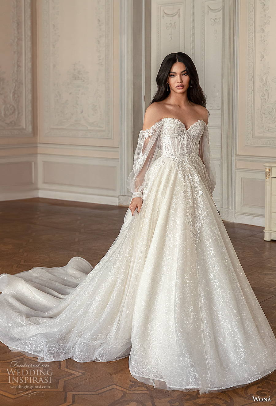 wona concept 2021 romance bridal long bishop sleeves sweetheart neckline heavily embellished bodice bustier romantic princess a  line wedding dress mid back chapel train (11) mv