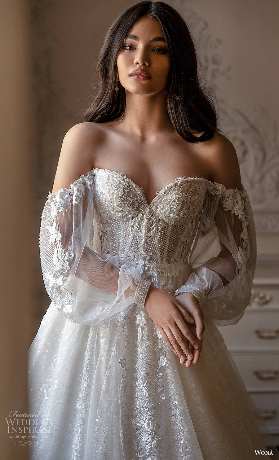 wona concept 2021 romance bridal long bishop sleeves sweetheart neckline heavily embellished bodice bustier romantic princess a  line wedding dress mid back chapel train (11) zv