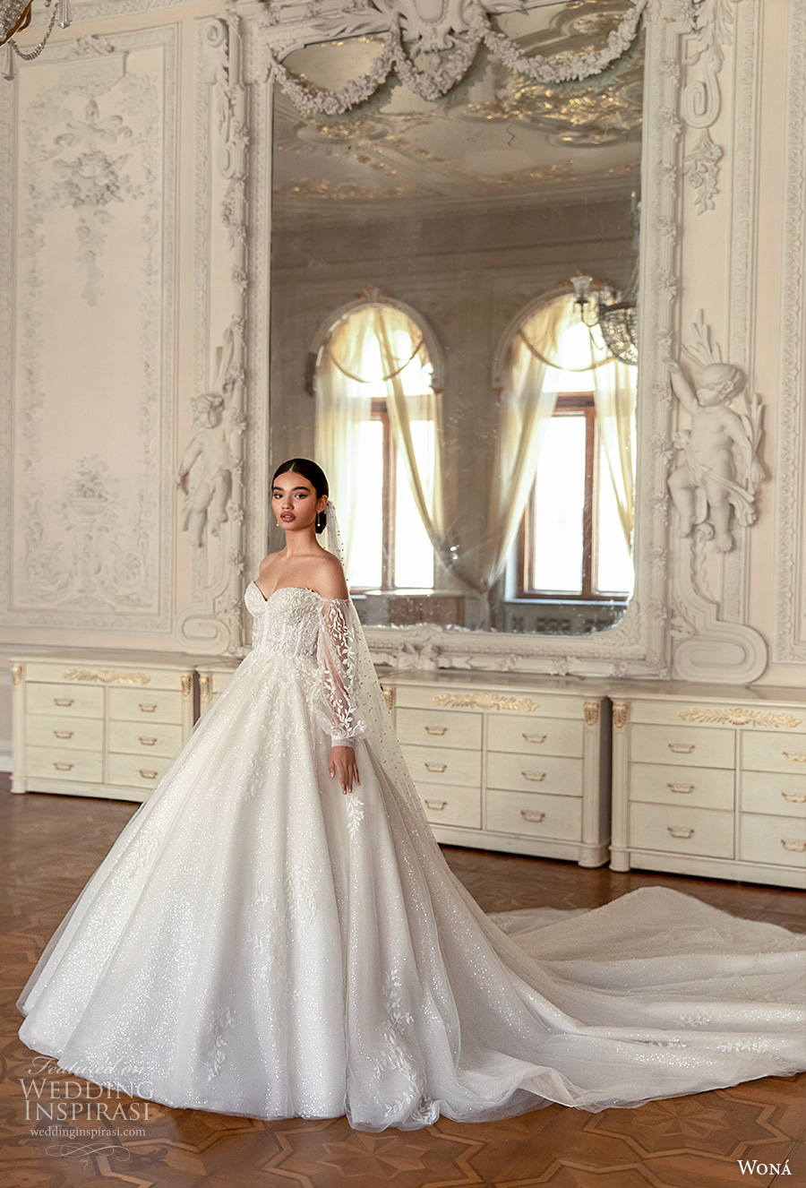 wona concept 2021 romance bridal long bishop sleeves sweetheart neckline heavily embellished bodice romantic princess a  line wedding dress mid back royal train (7) mv