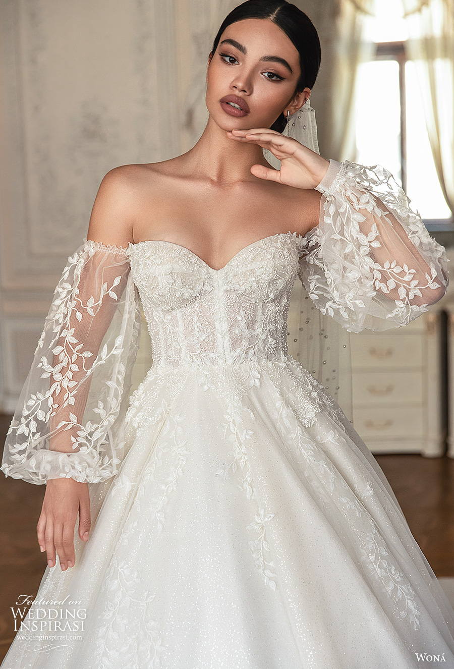 wona concept 2021 romance bridal long bishop sleeves sweetheart neckline heavily embellished bodice romantic princess a  line wedding dress mid back royal train (7) zv