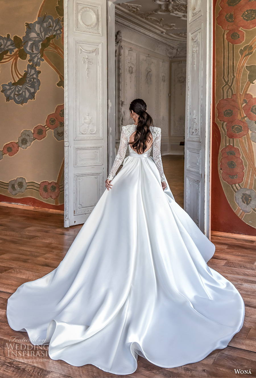 wona concept 2021 romance bridal long sleeves deep v neck heavily embellished bodice princess elegant a  line wedding dress keyhole bacl royal train (4) bv