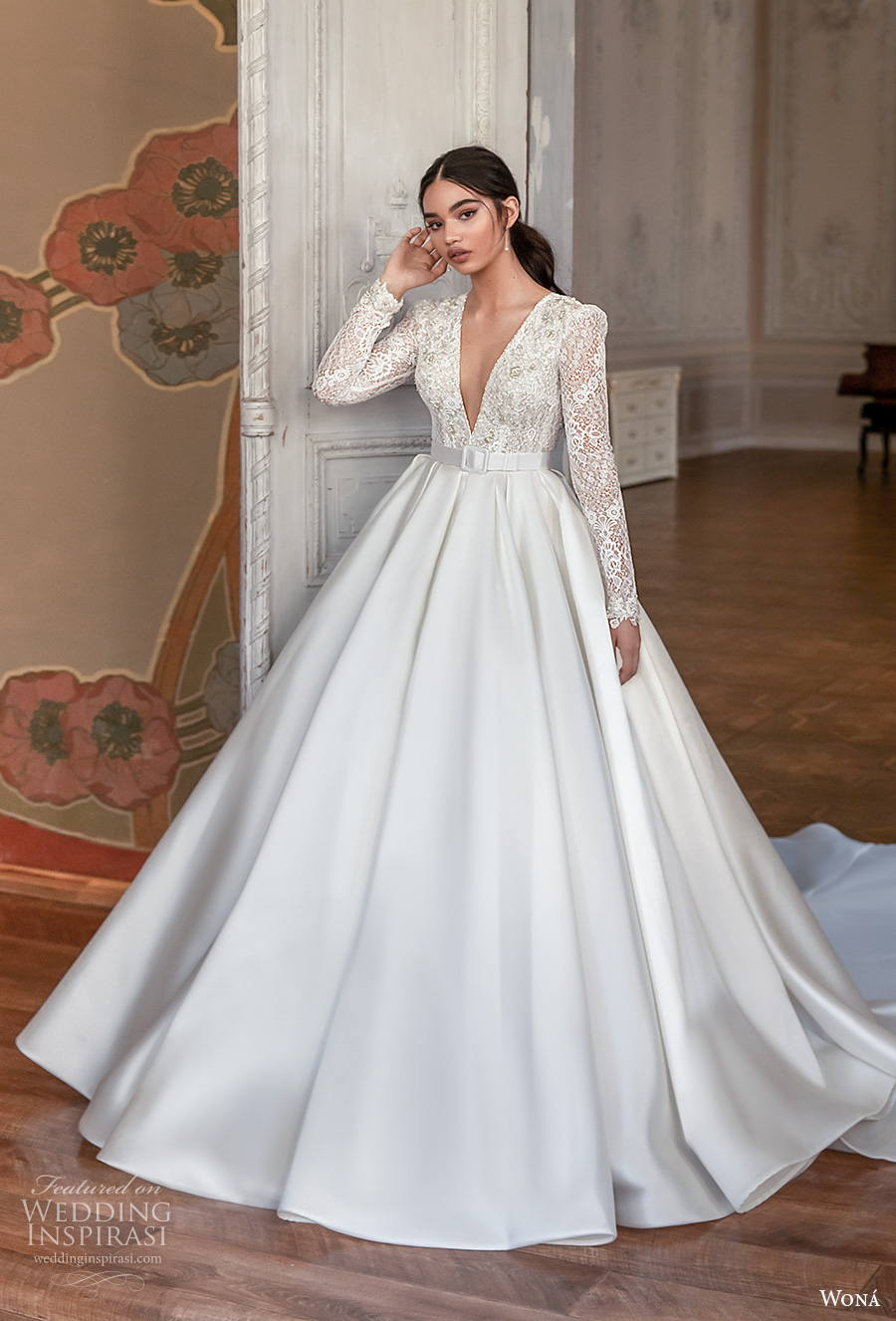 wona concept 2021 romance bridal long sleeves deep v neck heavily embellished bodice princess elegant a  line wedding dress keyhole bacl royal train (4) mv
