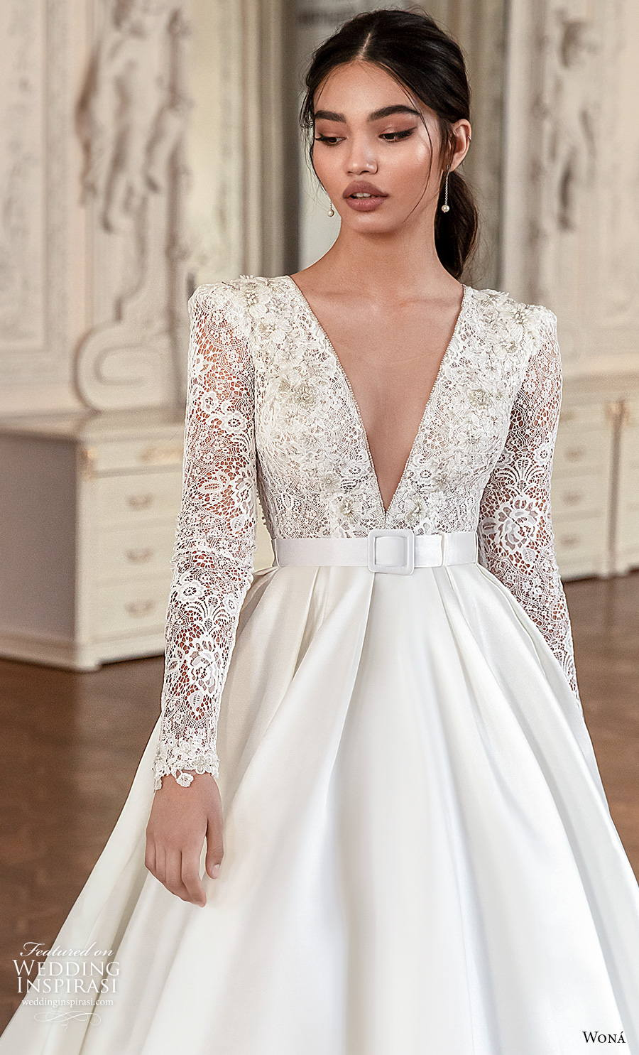 wona concept 2021 romance bridal long sleeves deep v neck heavily embellished bodice princess elegant a  line wedding dress keyhole bacl royal train (4) zv