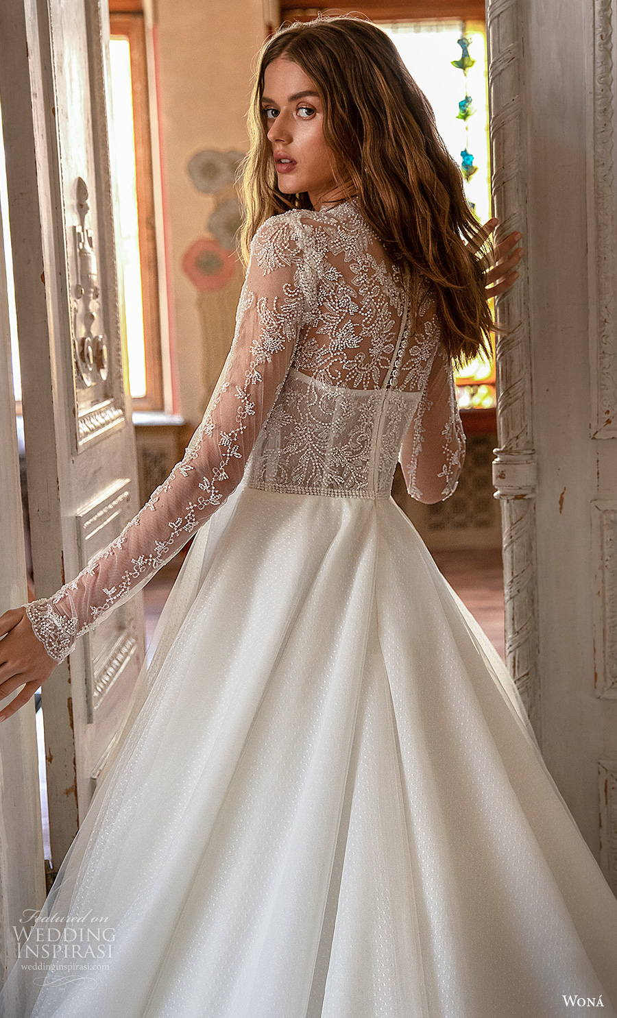 wona concept 2021 romance bridal long sleeves high neck heavily embellished bodice princess a  line wedding dress lace back chapel train (10) zbv