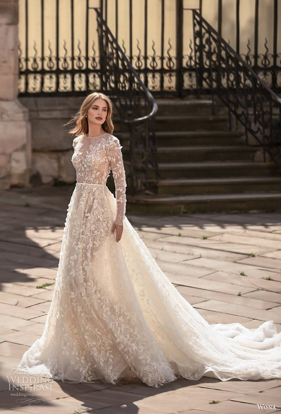 wona concept 2021 romance bridal long sleeves jewel neck full embellishment romantic modest a  line wedding dress covered lace back chapel train (6) mv