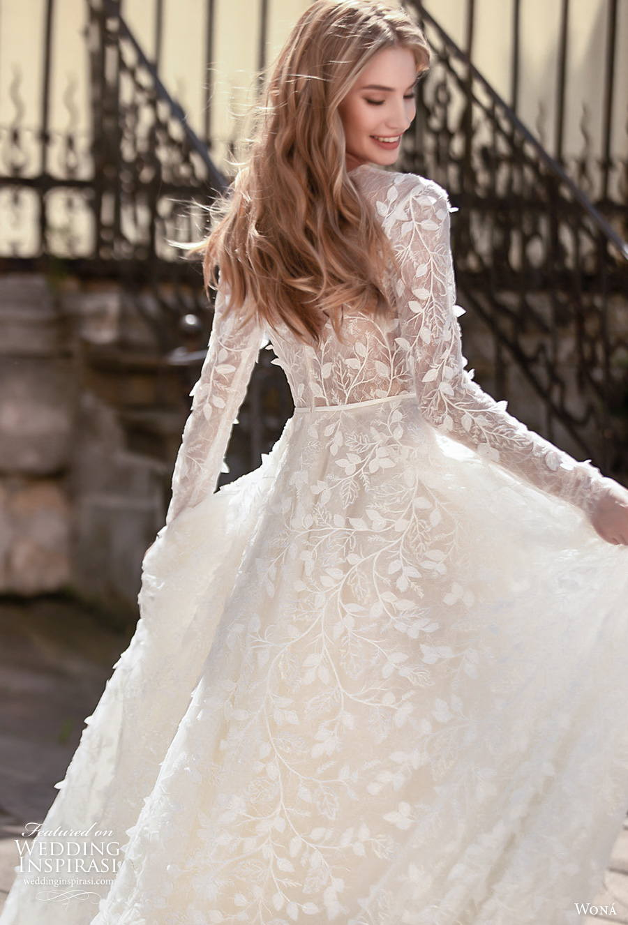 wona concept 2021 romance bridal long sleeves jewel neck full embellishment romantic modest a  line wedding dress covered lace back chapel train (6) zbv