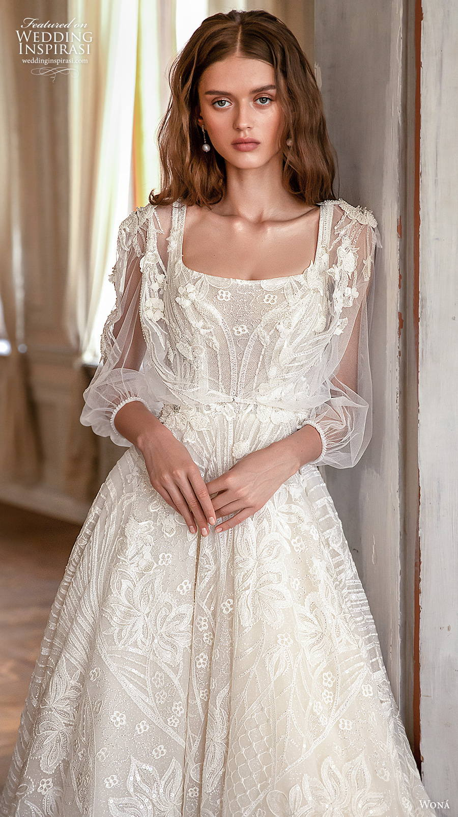 wona concept 2021 romance bridal long sleeves square neck with strap full embellishment romantic a  line wedding dress square back chapel train (3) zv