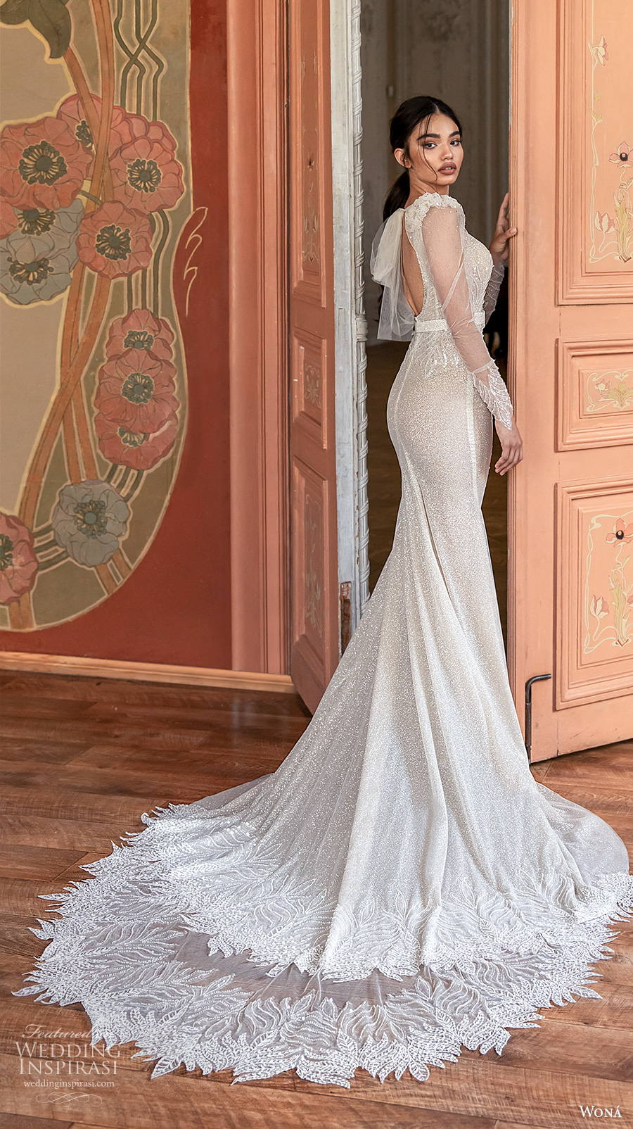 wona concept 2021 romance bridal long sleeves v neck lightly embellished bodice glamorous elgan fit and flare wedding dress keyhole back chapel train (8) bv