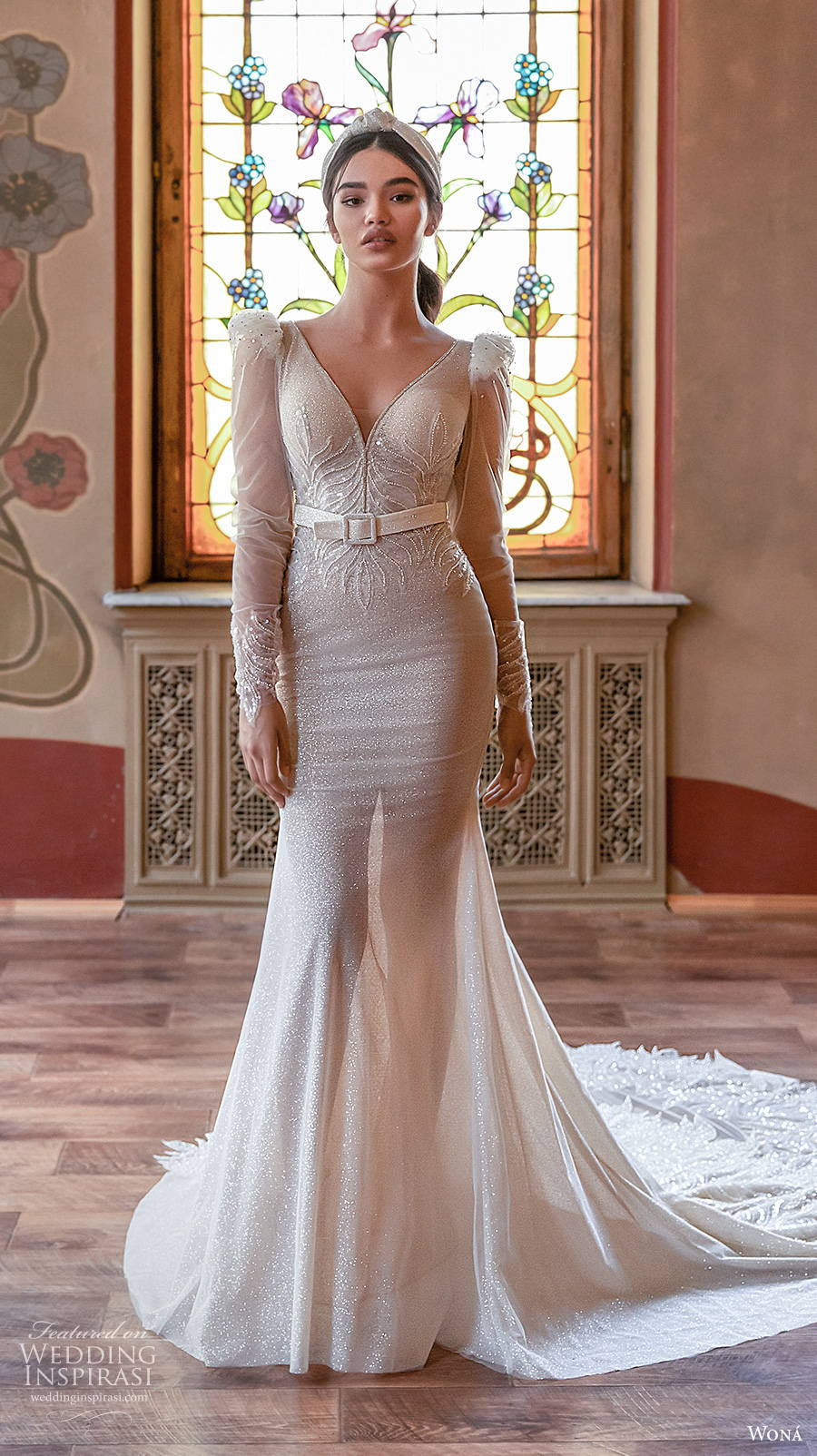 wona concept 2021 romance bridal long sleeves v neck lightly embellished bodice glamorous elgan fit and flare wedding dress keyhole back chapel train (8) mv